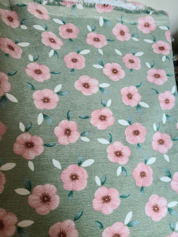 Corduroy_ mint/cherry blossom