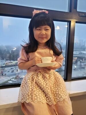 Kid lace Dress Apron _ indie pink
