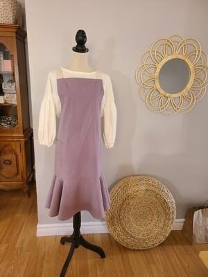 Long mermaid apron _ ivory / light purple