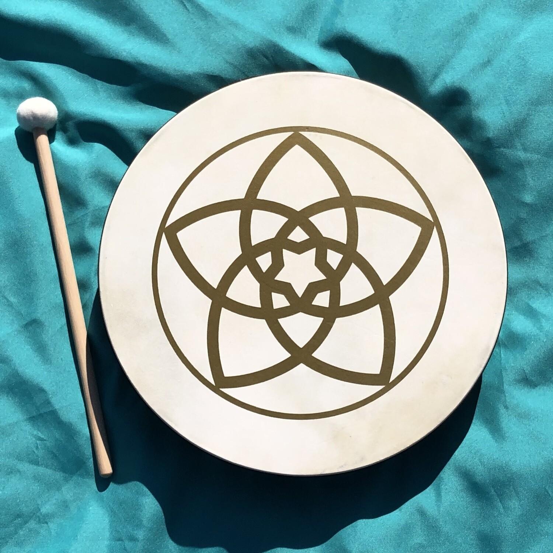 """Hand Drum, 16"""", Venus Flower"""