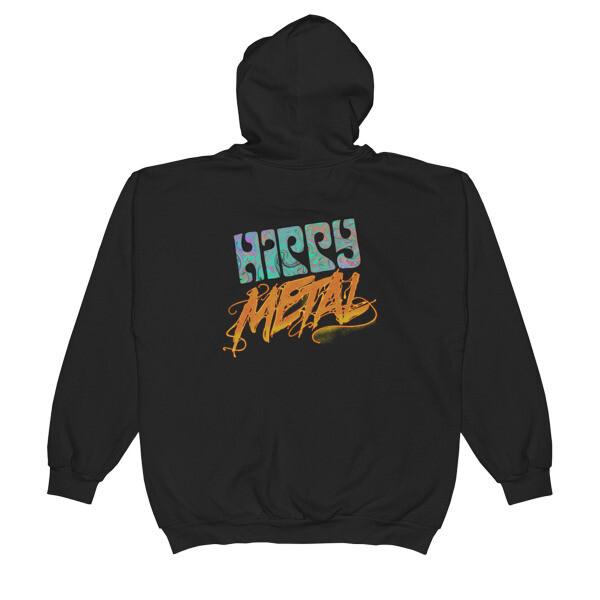 """""""Hippy Metal"""" Unisex Zip Hoodie w/ Skull"""