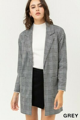 Mid-Length Blazer in Charcoal and Wine