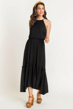 Halter frill maxi dress in black