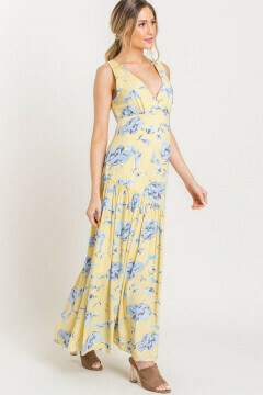 Pluge neckline gathered maxi dress in yellow with blue print