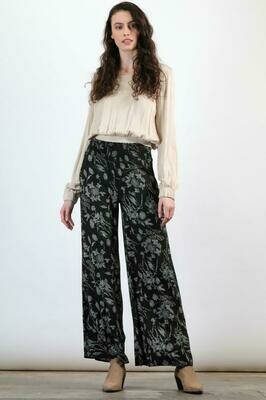 Floral print crepe wide-leg trouser pant with smocked waist