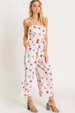 Taupe floral print linen jumpsuit with front tie