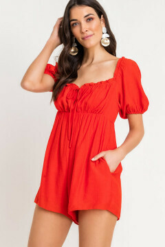 Red puff sleeve tie gather romper