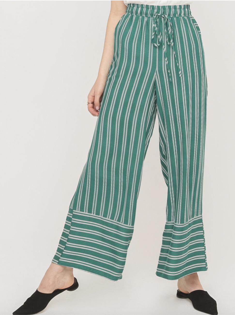Green Striped Pants