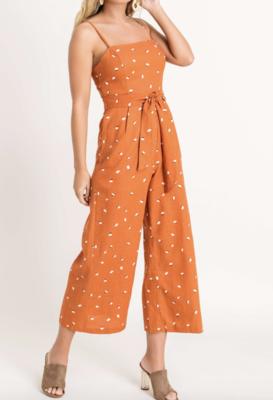 Rust/Ivory Linen Jumpsuit