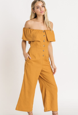 Mustard Off Shoulder Jumpsuit