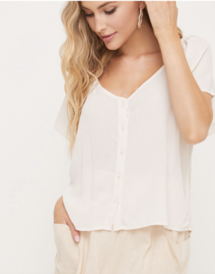 Cream Button Blouse