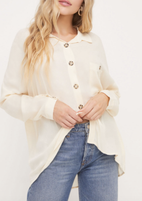 Oatmeal Oversized Button Down Shirt