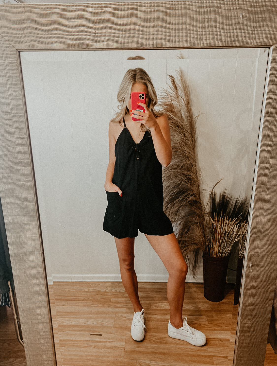 Black Romper with Keyhole Front Knot