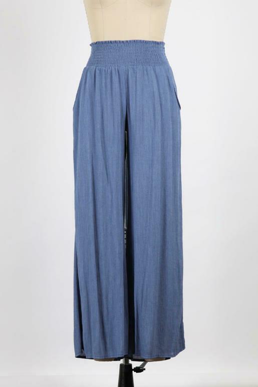 Wide-Leg Dusty Blue Pants