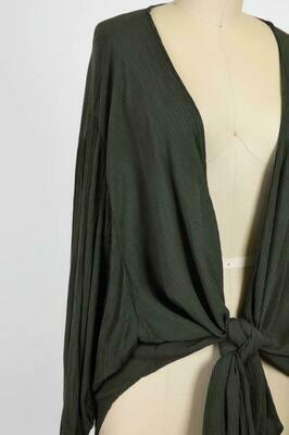 Dark Olive Front Tie Top