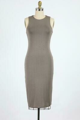 Double Lined High Neck Dress in Dark Coco