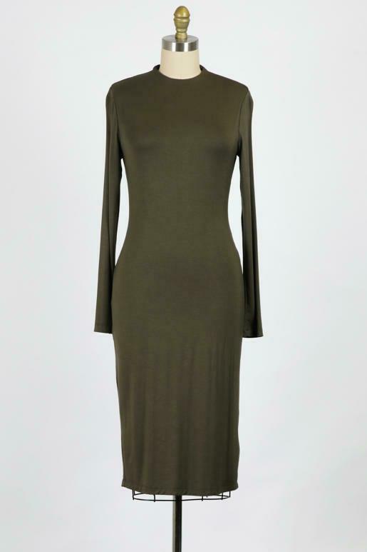 Mock Neck Double Lined Dress