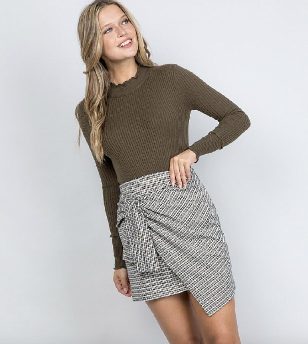 Black and Rust Print Wrap Skirt