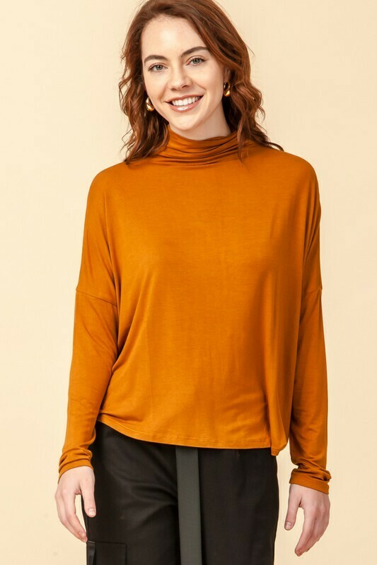 Mock Neck Swing Top in Cinnamon