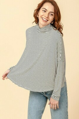 Mock Neck Swing Top Striped