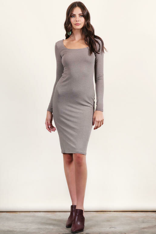 Double Lined Square Neck Dress in Taupe