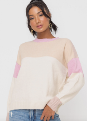 Cream and Pink Color Block Sweater