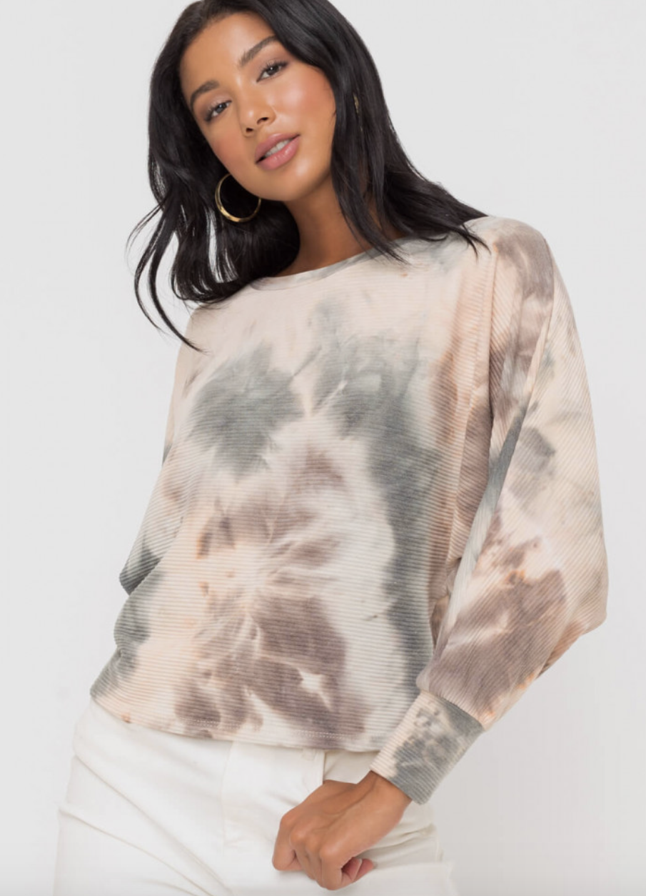 Blush/Sage Ribbed Tie Dye Pull Over
