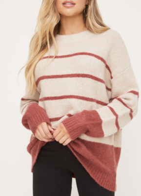 Oatmeal/Marsala Striped Sweater