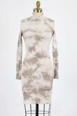 Tan Combo Tie Dye Ribbed Dress