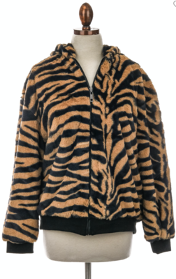 Faux Tiger Zipper Jacket