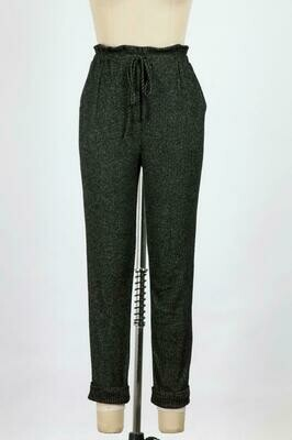 Drawstring Trousers with Cuffed Hem