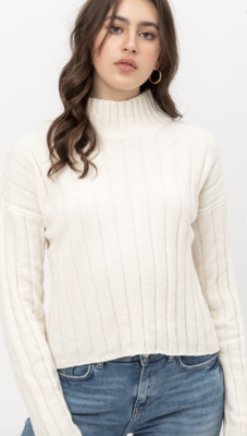 Cropped Mock Neck Chenille Sweater