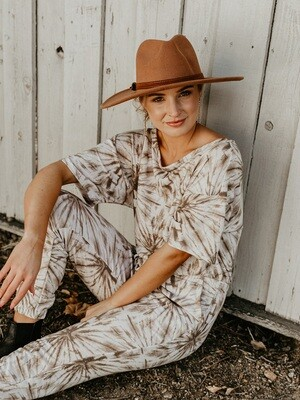 Taupe Tie Dye Jumpsuit