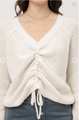 Ivory Front Tie Sweater