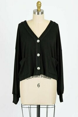 Dream Keeper Ribbed Knit Short Cardigan in