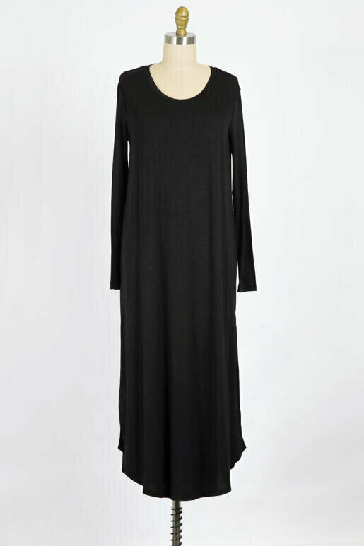 Long Sleeve Maxi Dress with Side Slit