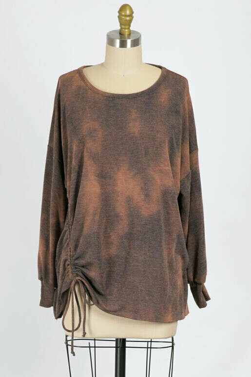 Chocolate Oversized Pullover with Ruching