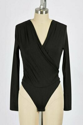 Double Lined Cross Over Body Suit in Black