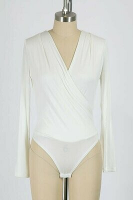 Double Lined Cross Over Body Suit in Ivory