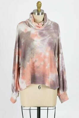 Pink and Mocha Tie Dye Turtle Neck