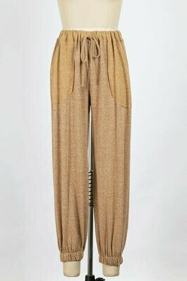 Inside Out Drawstring Sweat Pants in Camel