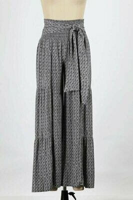 Statement Printed Flare Pants with Tie