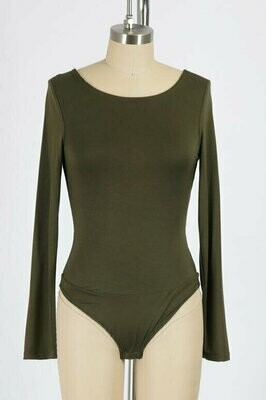 Double Lined Low Back Bodysuit in Olive