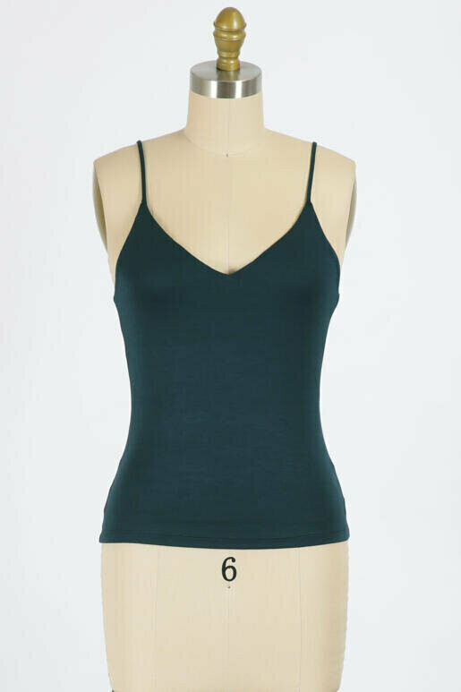 Double Lined V Neck Cami in Hunter Green