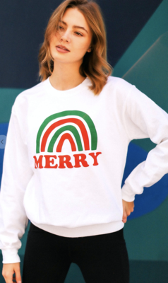 Merry Rainbow Christmas Sweatshirt in White