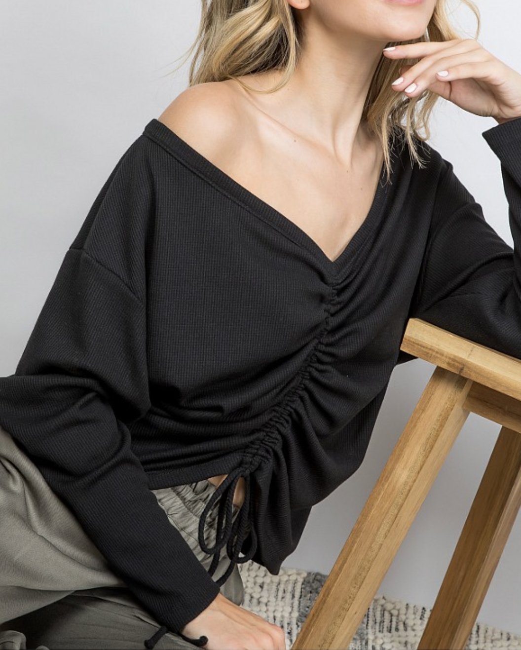 Ruched Top in Black