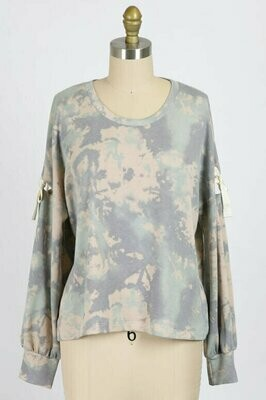 Sage Tie Dye Top with Tie Cut Out Detail