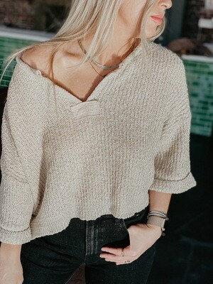 Makin' It Look Easy Cropped Sweater in Oatmeal
