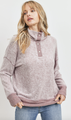 Meet Me in Aspen Button Sweatshirt Top