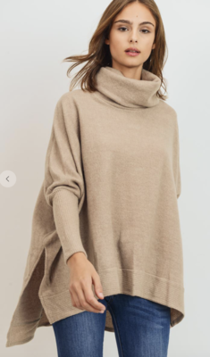 Hi-Low Tunic Top in Taupe